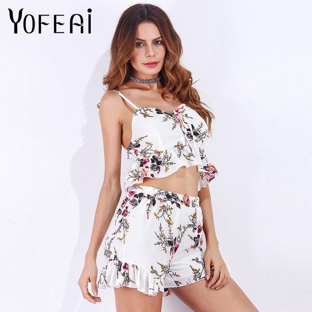 YOFEAI Sexy 2 piece set women Top With Shorts Print Sets 2018 Summer  Sleeveless Woman Sets Two Piece de92eb7e2