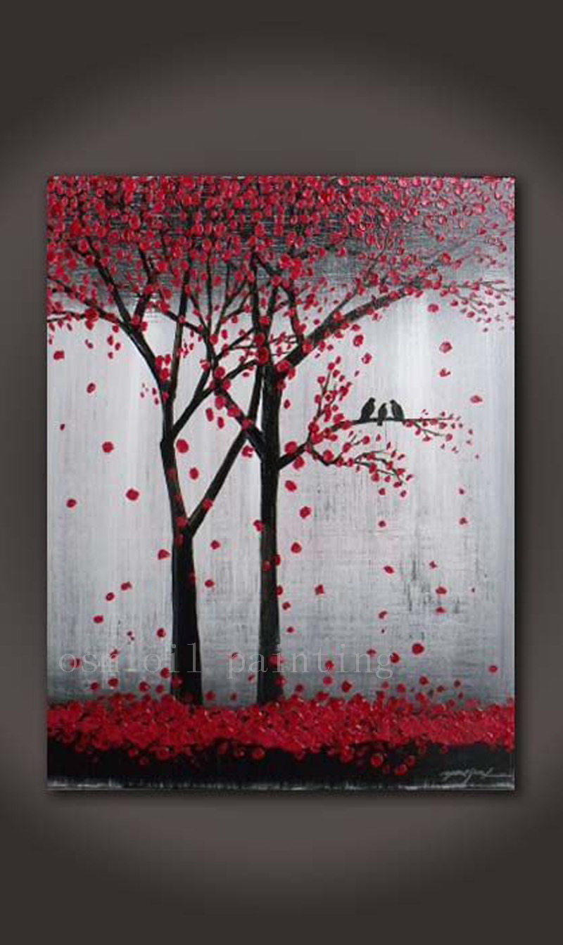 Top Skill Hand Painted Calligraphy Art Canvas Picture Handmade Abstract Wall Birds In The Red Flower Tree Knife Oil Painting Deco Clip Bird Maskbird Plush Aliexpress