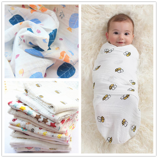 Muslin Cotton Baby Receiving Blankets Infant Baby Swaddles For