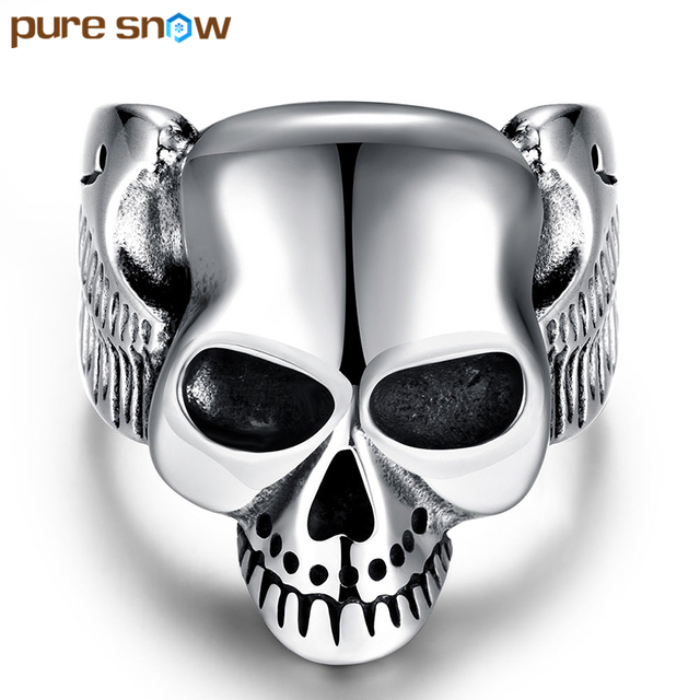 Pure Snow Trendy Mens Boys Ring Silver Plated 316L Stainless Steel ...