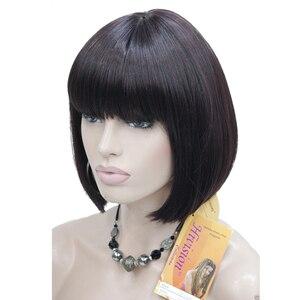 Image 2 - Parrucche da donna durable beauty Bob capelli neri parrucca corta senza cappuccio sintetica naturale diritta scelte di colore