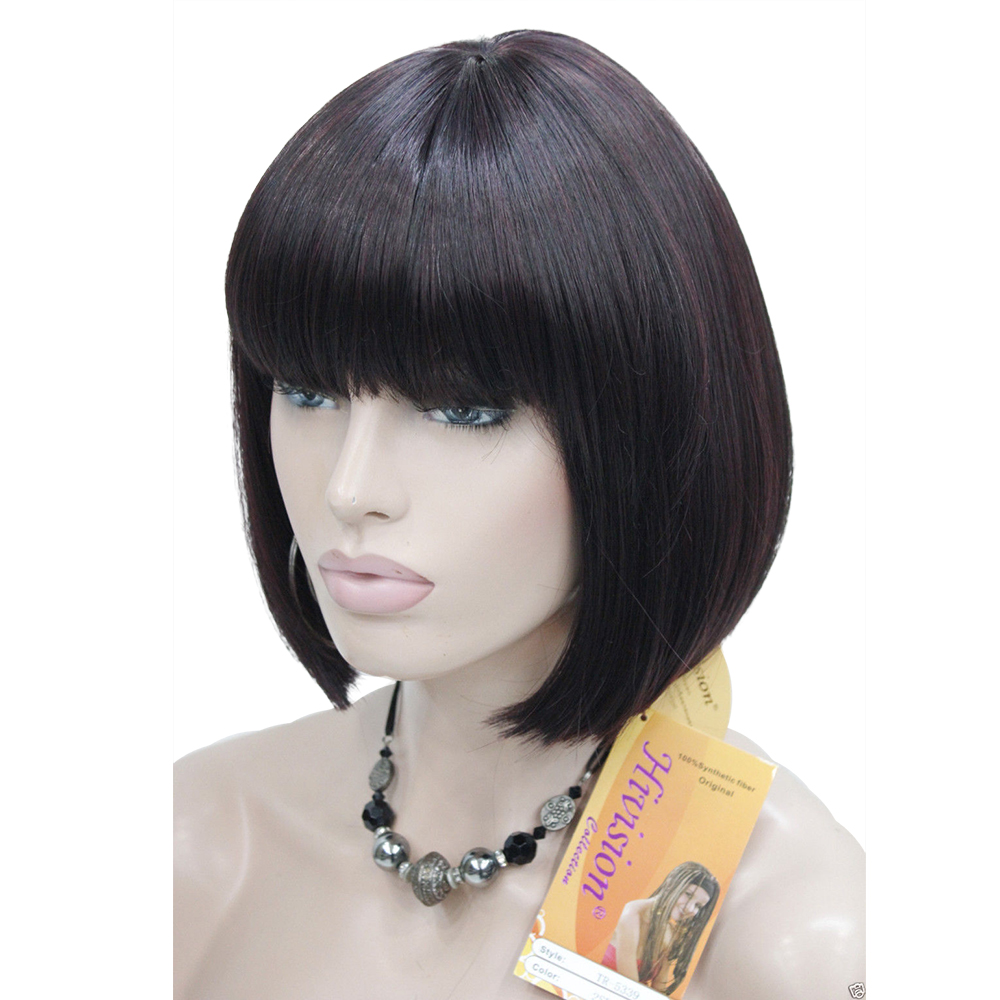 Image 2 - StrongBeauty Women's Wigs Bob Black Hair Short Straight Natural Synthetic Capless Wig-in Synthetic None-Lace  Wigs from Hair Extensions & Wigs