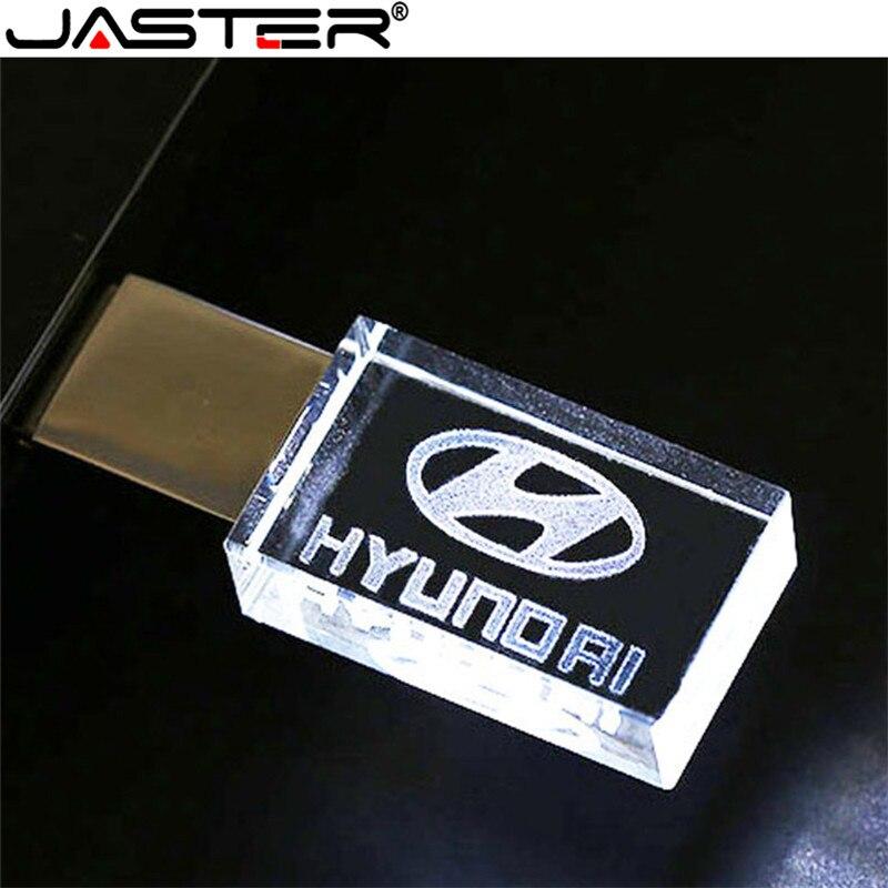 Modern Hyundai Crystal + Metal USB Flash Drive Pendrive 4GB 8GB 16GB 32GB 64GB 128GB External Storage Memory Stick U Disk