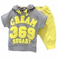 Children baby summer clothing sets girls Cotton hoodies short sleeve 2pcs baby boy clothes sets Free Shipping