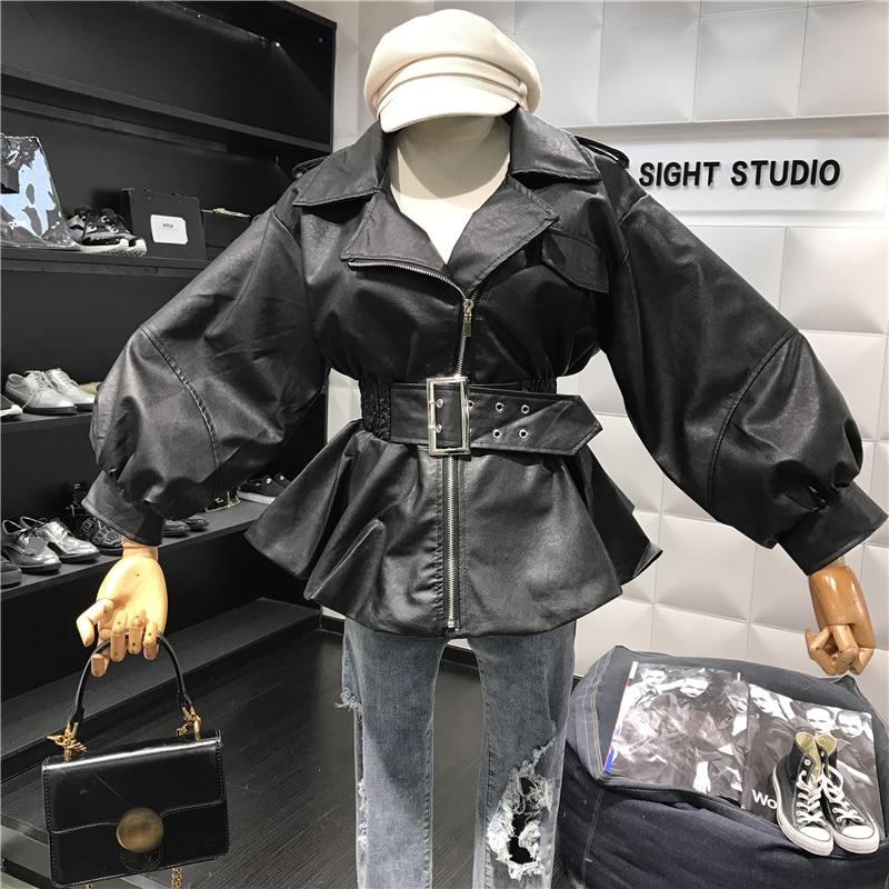 Printemps Cuir Veste Noir Sauvage Revers Courte Mode Fermeture Noir À Section En Pu European 2019 Ceinture Jack Éclair Poche Ms kaki Automne American nfw4fg8