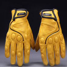 AMU-G78 Retro genuine Leather motorcycle gloves Safety Windproof anti cold electric bicycle Motocross racing moto gloves M L XL