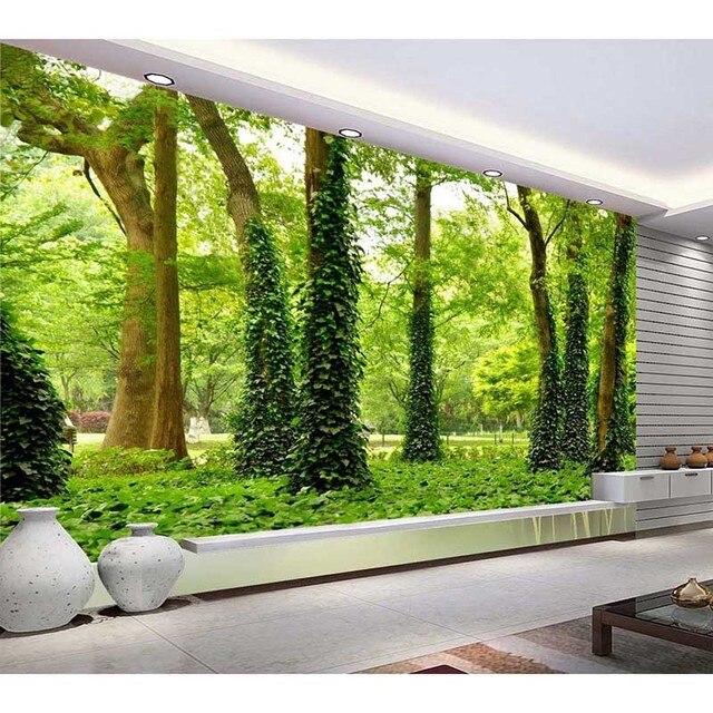 HD Foto Personalizado Papel De Parede 3D Floresta Paisagem Mural Sala de estar sofá Paisagem papel de Parede Papel 3D Limpar Decoração de Casa Telefone #137