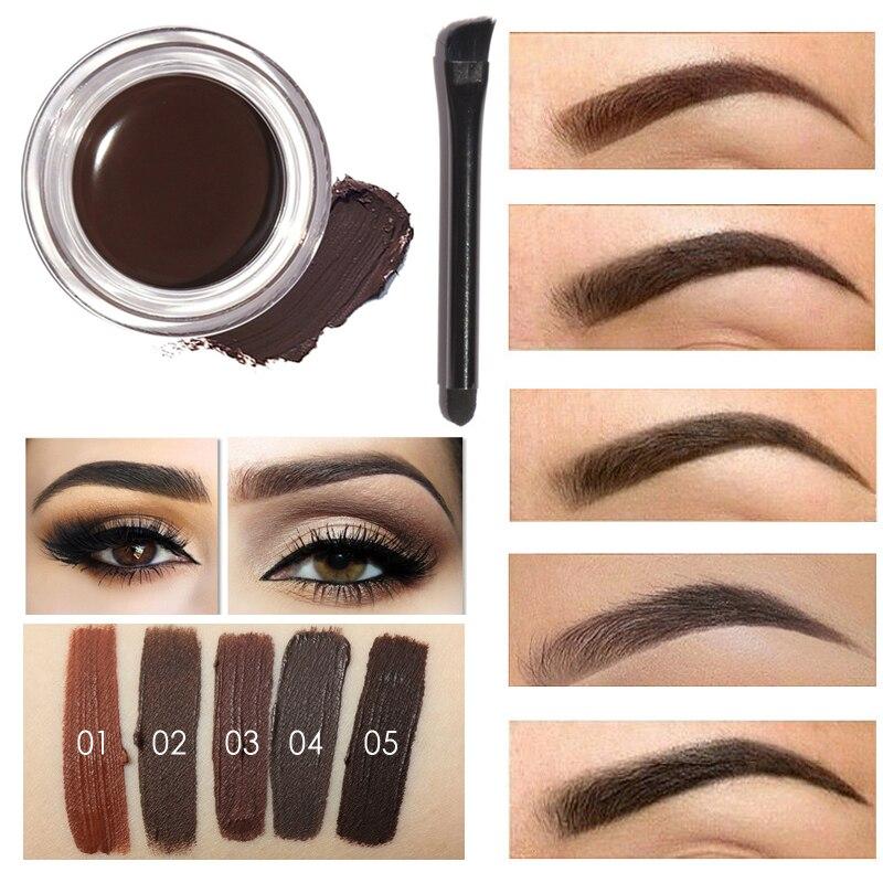 Professional Eye Brow Tint Makeup Tool Kit Waterproof High Brow 5 Color Pigment Black Brown Henna Eyebrow Gel With Brow Brush intensive eyebrow tinting brush for brow tint dye colour