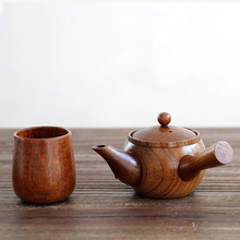 Japanese-style Nature Wood teapot kung fu tea pot with strainer wooden tableware