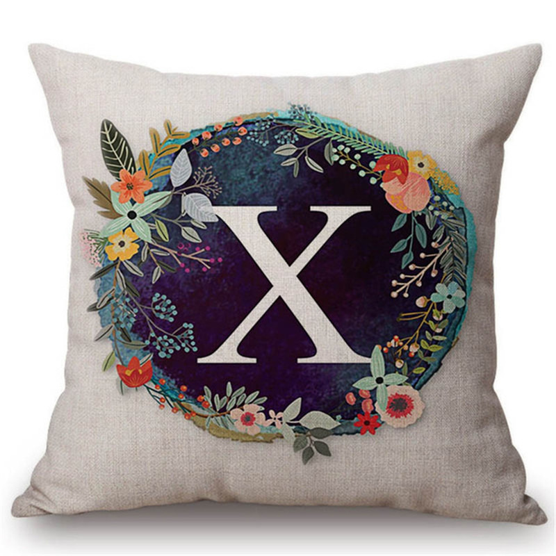 New Fashion Flower Wreath With Blue Letter Pillow Case 45*45 Print Pillow Cases Polyester Sofa Car Cushion Cover Home Wholesale Home & Garden Cushion Cover