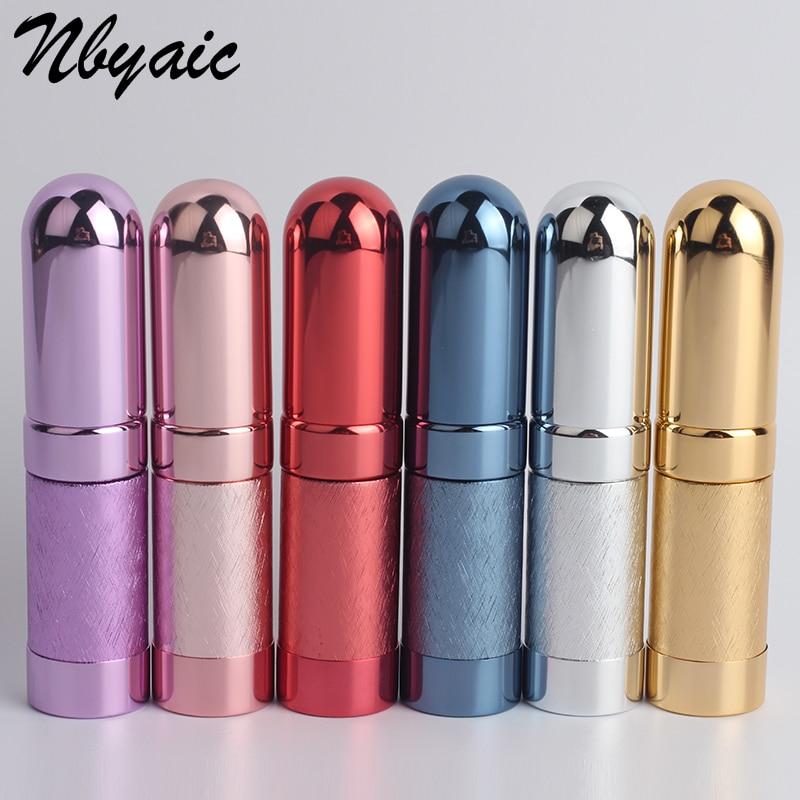 1Pcs Metal Bullet Perfume Sub-Bottle Cosmetic Spray Bottle Light Portable Lipstick Shape Non-slip Pattern Fashion Empty Bottle