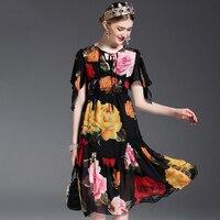 2017 inspiriert designer mode vintage schwarze rose drucken kurzhülse dress mittel lange lose expansion ballkleid dress kleider