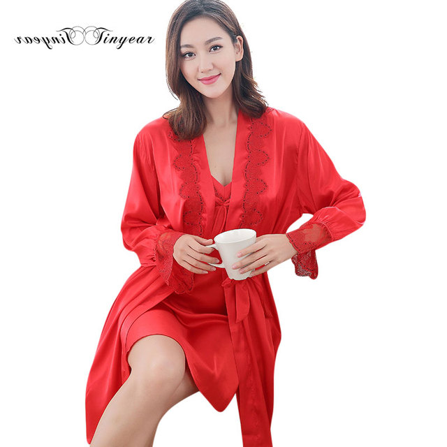 3590e9cee1 Wholesale Silk pajamas Robes Large size Full sleeve Floral Autumn Women Silk  sets of Robe Nightgown 2 pieces Women Sleep suits