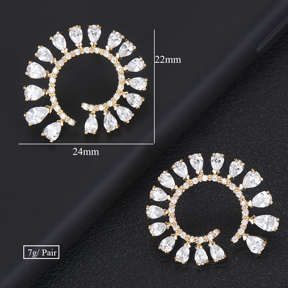 SISCATHY Charms Women Girls Earrings Luxury Goegeous Cubic Zirconia Statement Stud Earrings Jewelry Party Wedding Accessories in Stud Earrings from Jewelry Accessories
