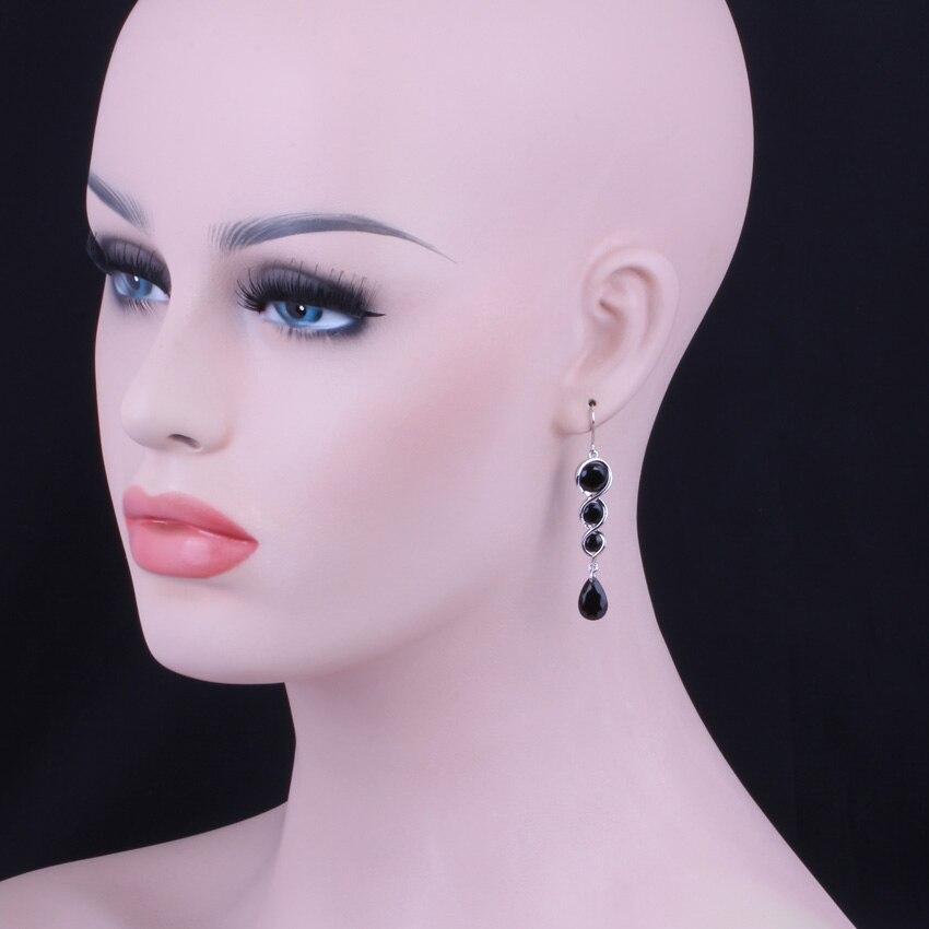Delicate Water Drop Black Cubic Zirconia 925 Sterling Silver Drop Dangle Earrings For Women V0213 in Drop Earrings from Jewelry Accessories