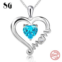 100% 925 sterling silver Mom love heart pendant chain necklace with blue CZ diy fashion jewelry making for Mother's day gifts genuine sterling silver 925 love heart mom hug kid necklace in jewelry pendant necklace with cz chain fashion jewelry for mother