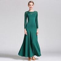 Ballroom Dance Dress Lady S Simple Practice Long Sleeve Stage Dancing Skirt Women S Cheap Waltz
