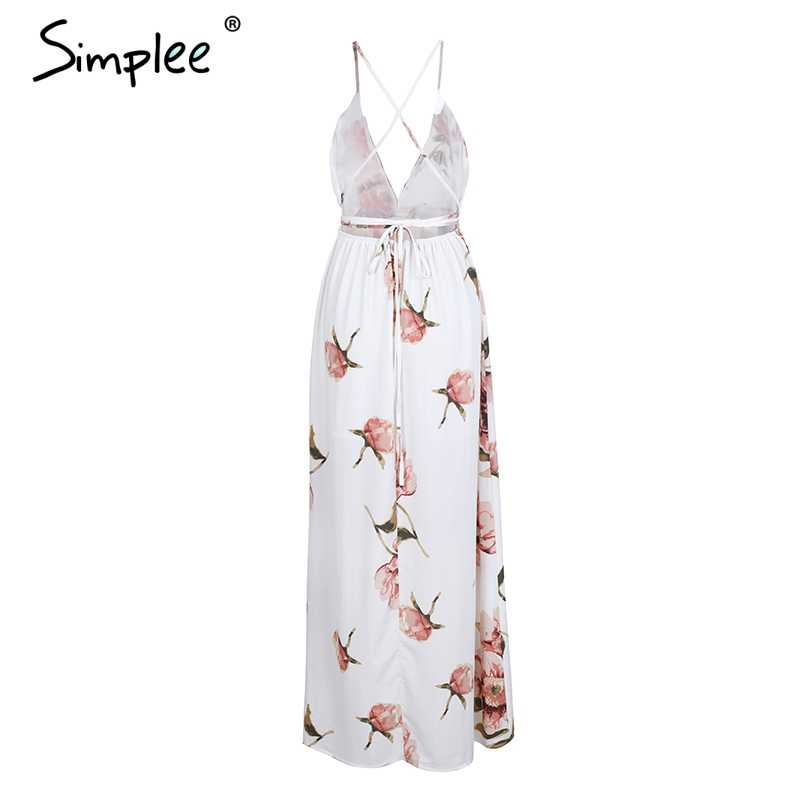 Летнее платье Simplee в стиле бохо, без рукавов, шикарное длинное пляжное платье с глубоким V-образным перекрестным вырезом, с открытой спиной, на шнуровке