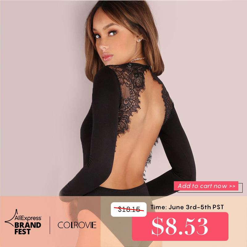 COLROVIE Backless Lace Patchwork Bodysuit Black Sexy Slim Women Club Summer Bodysuits Long Sleeve Skinny Hot Party Bodysuit