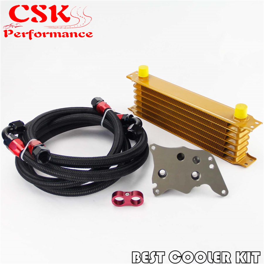 AN10 7 Row Engine Trust Oil Cooler Kit Fits For BMW Mini Cooper S R56 Turbo 06-12 Gold gplus 13 row an10an engine oil cooler kit for bmw mini cooper s r56 turbo black