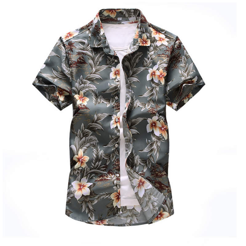 2019 New Men Shirt Summer Style  Print Beach Hawaiian Shirt Men Casual Short Sleeve Hawaii Shirt Chemise Homme Asian Size 7XL
