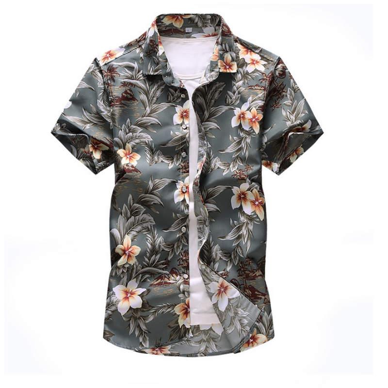 2019 New Men Shirt Summer Style  Print Beach Hawaiian Shirt Men Casual Short Sleeve Hawaii Shirt Chemise Homme Asian Size 7XL