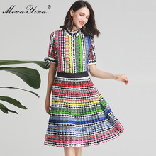 MoaaYina Fashion Designer Set Spring Summer Women Bow Short sleeve Stripe Print Indie Folk Shirt Tops+Skirt Two piece suit