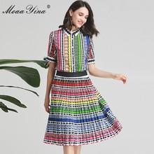 MoaaYina Moda Tasarımcısı Seti Bahar Yaz Kadın Yay Kısa kollu Şerit Baskı Indie Halk Gömlek Tops + Etek Iki parça takım elbise