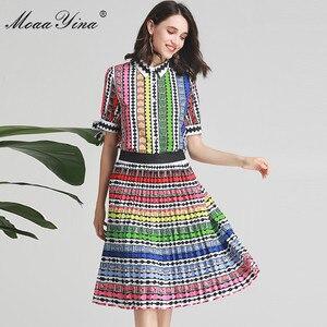 Image 1 - MoaaYina ensemble de créateurs de mode printemps été femmes arc à manches courtes rayure imprimé Indie Folk chemise hauts + jupe deux pièces costume