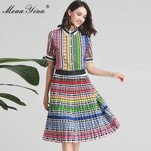 MoaaYina projektant mody zestaw wiosna lato kobiety łuk z krótkim rękawem w paski drukuj Indie Folk Shirt topy + spódnica sztuka garnitur