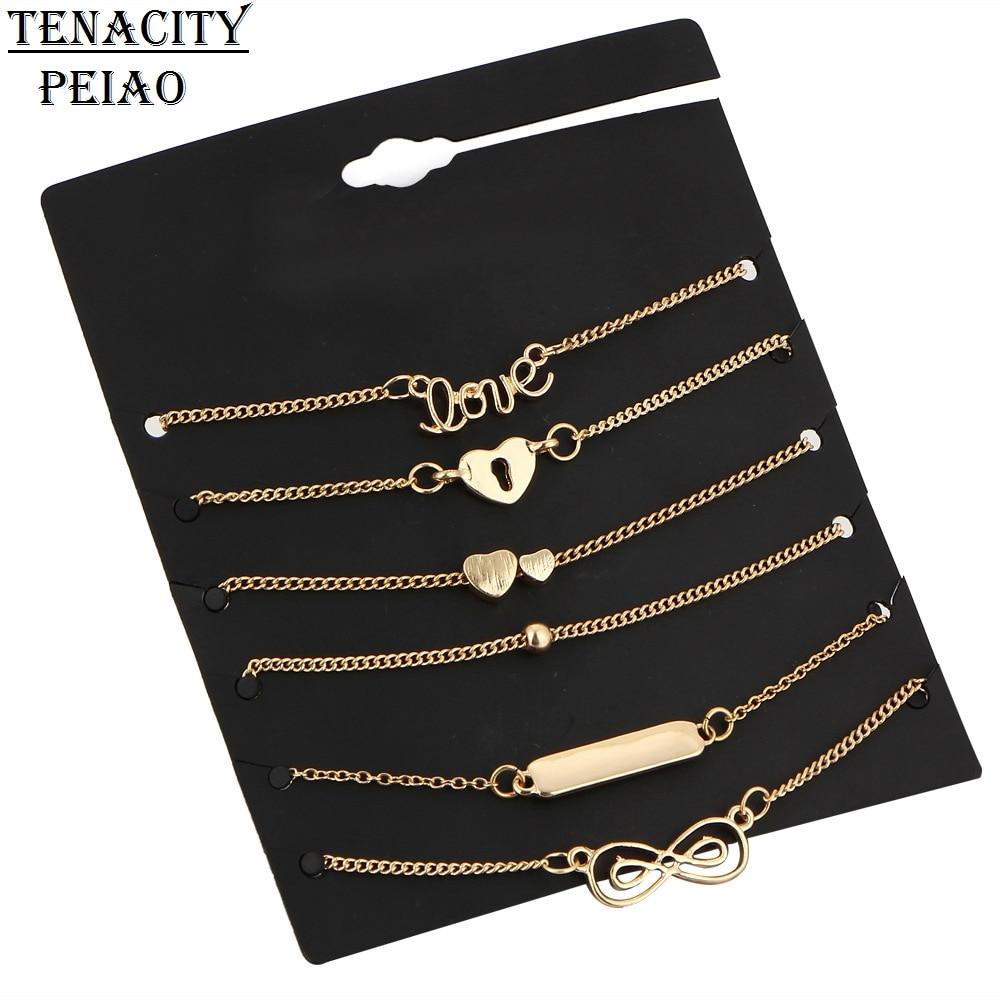 PEIAO 5Pcs Set Alloy New Bijoux Fashion Vintage Infinity 8 Bracelets For Women 2 Color Bracelet