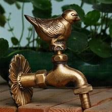 Декоративный открытый кран Сельский животный садовый кран с античным бронзовым воробьем птица голубь кран для стиральной машины