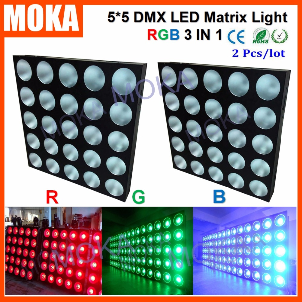 2PCS/LOT IP Rating 20 800W RGB 3 IN 1 5x5 Matrix Stage Light 30Wx25Pcs Lamps Nightclub Event Show Projector ...