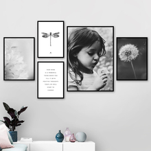 Flower Petal Dragonfly Dandelion Girl Wall Art Canvas Painting Quotes Nordic Posters And Prints pictures For Living Room