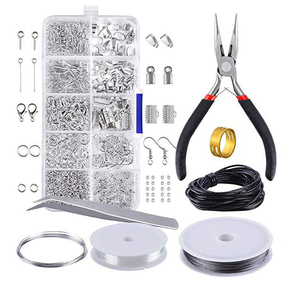 Image 2 - 24Grids Iron Jewelry Tool Sets Single ring/Lobster clasp/Tail chain/Clip buckle/Drop Kit Necklace Bracelet Materials Supplies