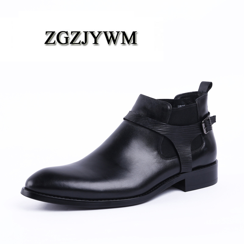 ZGZJYWM Fashion Black /Red Breathable Slip-On Genuine Leather Pointed Toe Classic Business Office Formal Ankle Men BootsZGZJYWM Fashion Black /Red Breathable Slip-On Genuine Leather Pointed Toe Classic Business Office Formal Ankle Men Boots