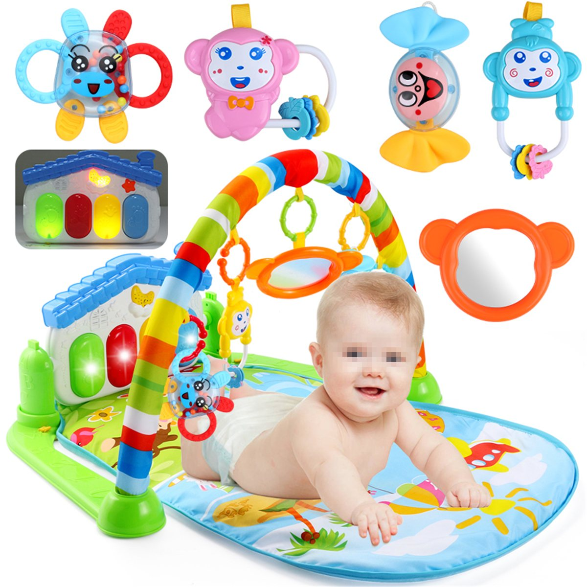 New 3 in 1 Newborn Baby Multifunction Play Mat Music Piano Fitness Gym Play Activity Mats For Kids Children Gift Toys