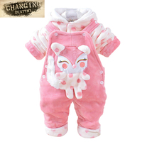 0 2 Years Old Autumn Winter Children Baby 2 Pcs Suit Overcoat Pant Straps Cartoon Cotton