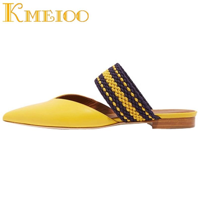 Kmeioo 2018 Fashion Flat Sandals Women Pointed Toe Mules Slip On Dress Ladies Slides Low Heel Ring Of Cloth Shoes cloth slip on bowtie pointed toe womens sandals