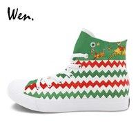 Wen Original Design Hand Painted Shoes Christmas Ornament Figure Custom Graffiti Painting High Top Sneakers Women