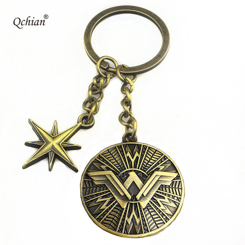 Wonder Woman Key Chain DC Superman Wars Batman Shield Magic Waffle Keychain Holder Metal Chaveiro Key Chain Pendant ...