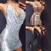 2017 RUIYIGE Backless Deep V Sequin Sexy Women Black Sexy Luxury Sundress Party Hot Short Dress Night Club Strap Mini Vestidos
