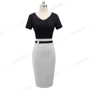 Image 2 - Nice forever Vintage Elegant Contrast Color Patchwork Work Ring vestidos Business Party Bodycon Office Women Sheath Dress B497