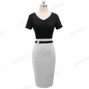 Image 2 - Ładny zawsze Vintage elegancki kontrast kolorowy Patchwork pracy pierścień vestidos Business Party Bodycon biuro kobiety obcisła sukienka B497