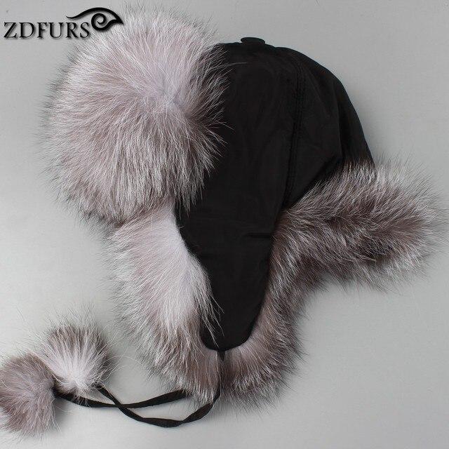 ZDFURS   Luxury Real fox fur hat winter Ushanka Cossack Bomber cap whole  Raccoon fur earmuff thick warm Russian hat ZDH-161002 27c1244dad3