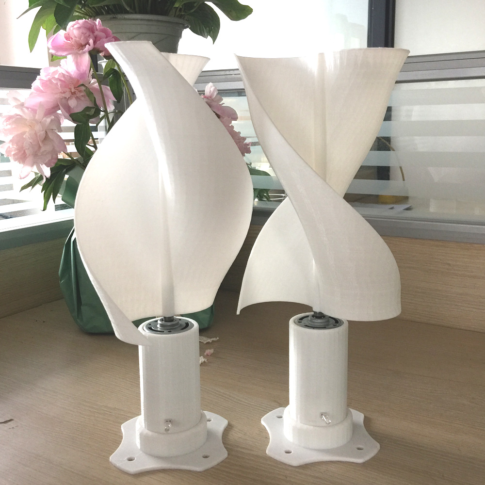 Micro Wind Turbine With LED Light Vertical Wind Generator With 2 Blades Started At 0.05m/s For New Energy Class