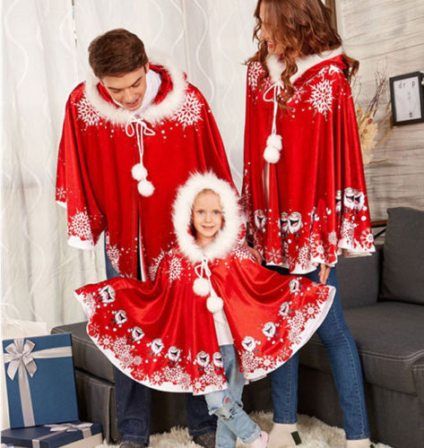 efd6d66ce Christmas Snowflake Hooded Cape Cloak Coat Xmas Party Velvet Fancy Family  Matching Outfits Costume Cosplay