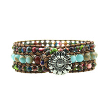 Exclusive Natural Onyx Leather Wrap Bracelet Wholesale Vintage Weaving Beaded Cuff Stone Jewelry