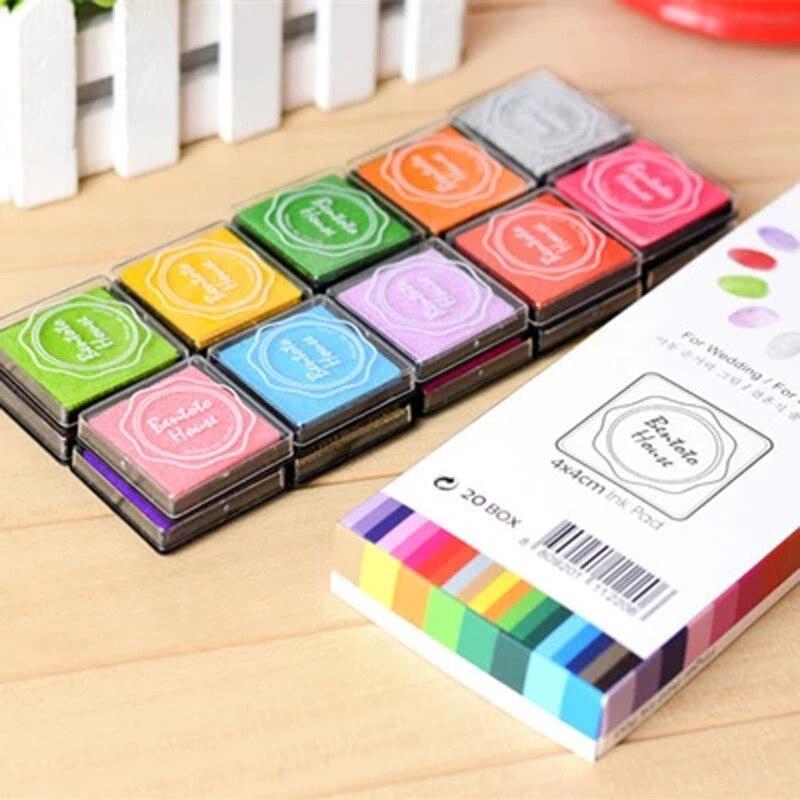 20pcs set 4 4cm DIY Colored Cute Funny Plastic Inkpad Stamp Album Finger Painting For Wedding Decoration Stationery Set in Stationery Set from Office School Supplies