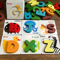 Kid's Wooden Montessori Material Animals Alphabet Educatioanl Toys For Children English Letters Play Board Wood 3D Puzzles Brick